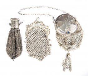 Victorian Silver Chatelaine Mesh Purses (2)