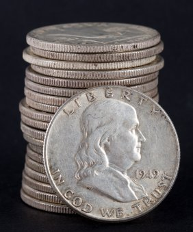 [us] 20 U.s. Franklin Type Silver Half Dollars