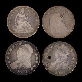 [us] 4 Us Half Dollars 1827 And 1873 W/a, 1854-o
