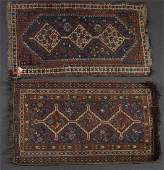 Two antique Persian Shiraz scatter rugs