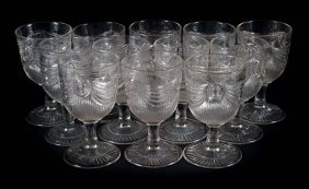 "Twelve Sandwich ""lincoln Drape"" Goblets"