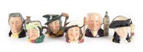 Six Royal Doulton China Miniature Character Jugs