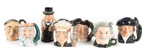 Seven Royal Doulton china miniature character jugs