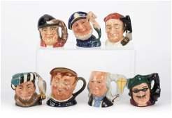Seven Royal Doulton miniature character jugs