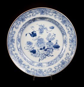 Chinese Export Blue And White Soup Plate