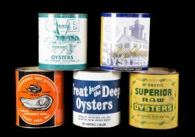 Five Lithographed Tin One Gallon Oyster Cans