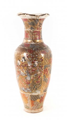 Japanese Satsuma Earthenware Palace Vase