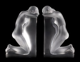 Pair Of Lalique Crystal Reverie Bookends
