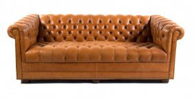 Button-upholstered Leather Chesterfield Sofa