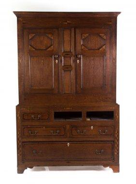 Welsh Inlaid Oak Press Cupboard
