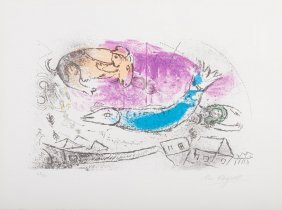 """Marc Chagall. """"le Poisson Bleu,"""" Lithograph"""