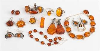 A Collection of Amber and Sterling Silver Jewelry