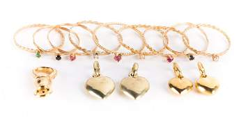 Lady's Stacking Rings and Heart Charms in Gold