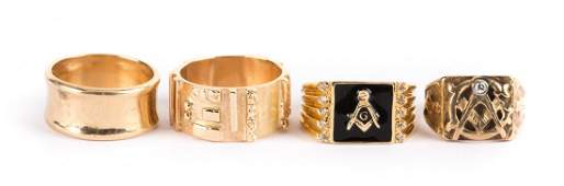 A Collection of Wide Gold Gent's Rings