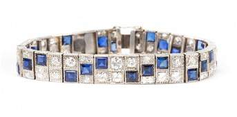 A Platinum Art Deco Diamond and Sapphire Bracelet