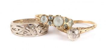 A Trio of Lady's Gold Gemstone Rings
