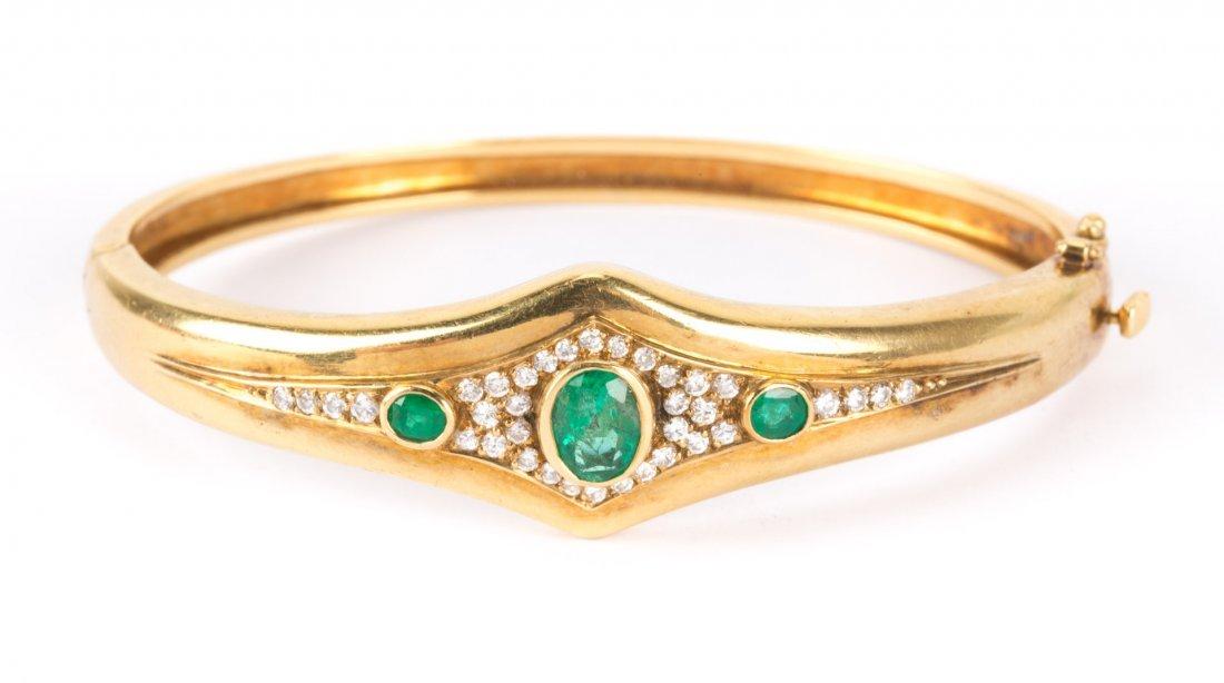 An Emerald and Diamond Bangle Bracelet