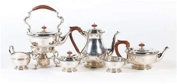 English sterling silver 6-pc coffee & tea service