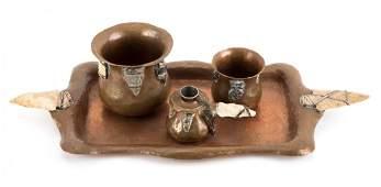 Arts and Crafts four piece copper desk set