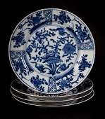 Set of four Chinese Export blue and white plates