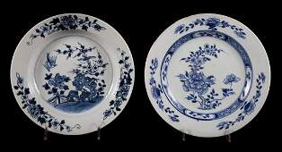 Two Chinese Export blue and white plates