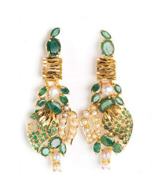 A Pair of 22K Emerald and Pearl Dangle Earrings