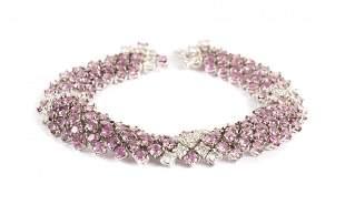 A 18K White Gold Pink Sapphire & Diamond Bracelet
