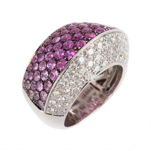 A Pink Sapphire and Diamond Ring in 18K Gold