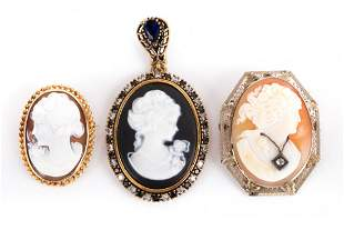 A Trio of Cameo Pendants and Brooches