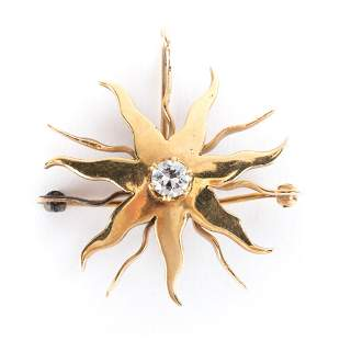 A Sunburst Diamond Pendant/Brooch in 14K Gold