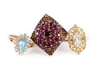 A Trio of Lady's Cocktail Rings