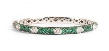 A Tsavorite and Diamond Oval Bangle Bracelet