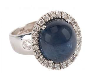 A Lady's Cabochon Sapphire and Diamond Ring