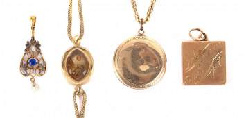A Pair of Gold Lockets and Gold Watchcase