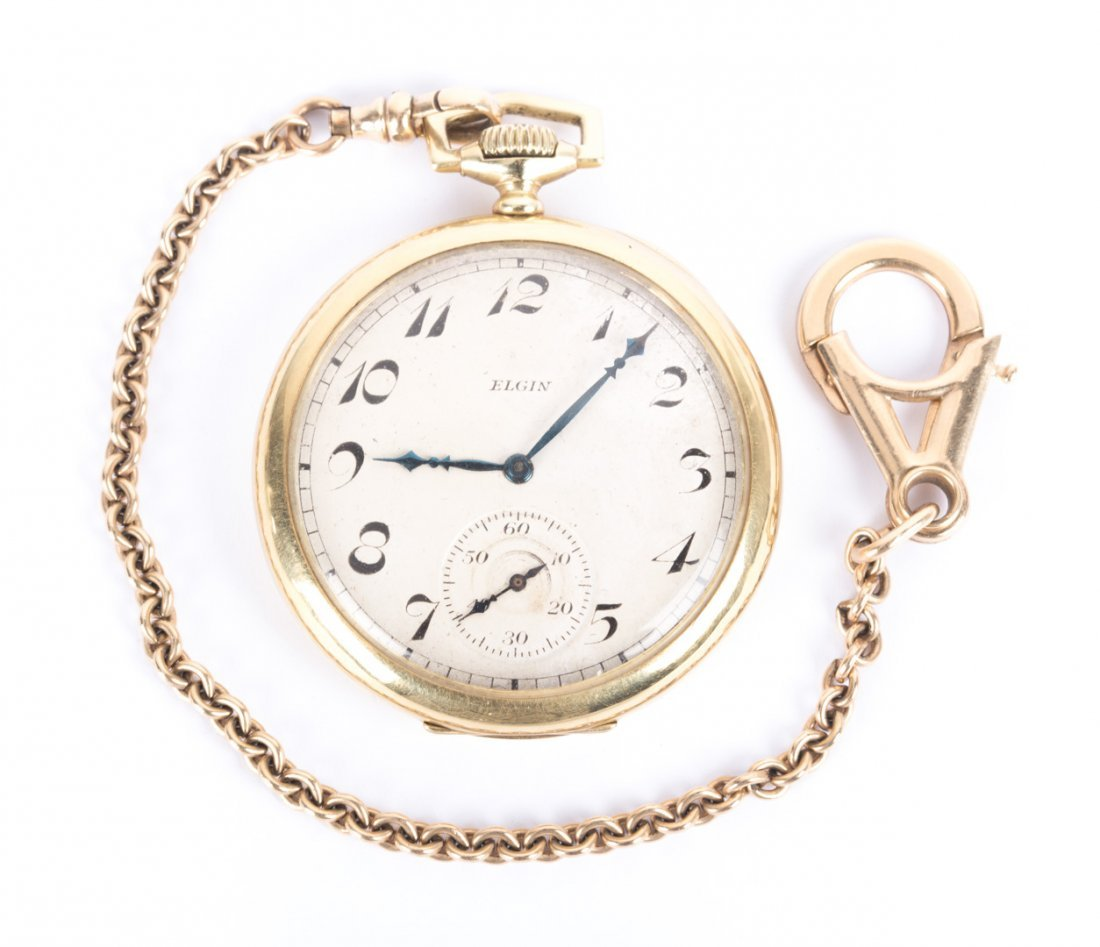 A Gent's Gold Elgin Pocket Watch & Chain