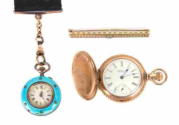 A Pair of Lady's Pocket Watches and Bar Pin