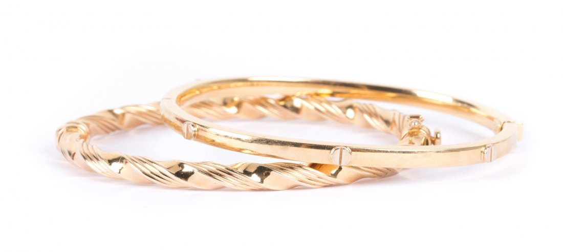 A Pair of Lady's 14K Gold Bangle Bracelets