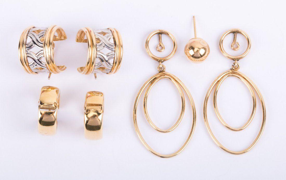 Two Pairs Lady's Huggie Hoop Earring in 14K Gold