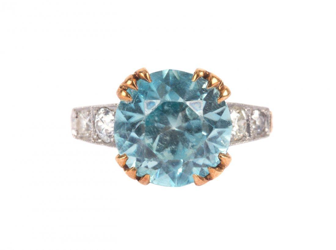 A Lady's Art Deco Blue Zircon Ring