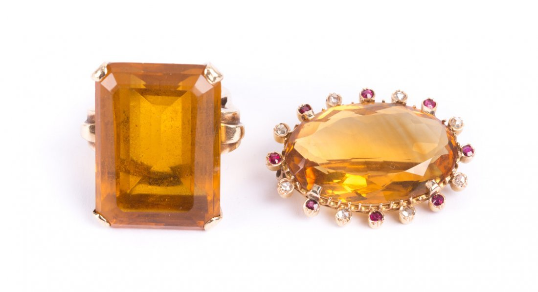 A Citrine Brooch and Ring in Gold