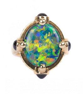 An Australian Black Opal Ring by Temple St. Clair