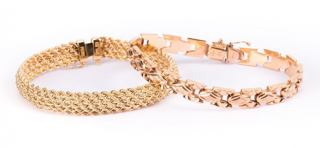 Two Lady's 14K Yellow Gold Bracelets