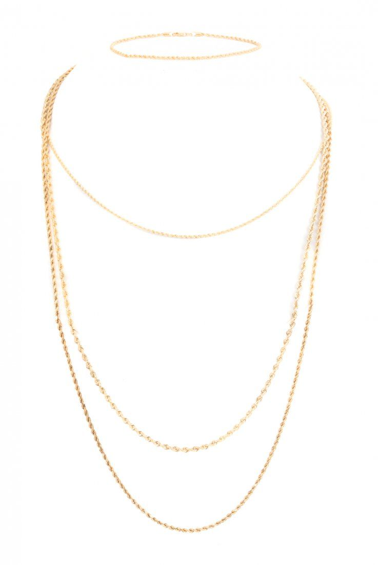 A Collection of 14K Gold Rope Chains