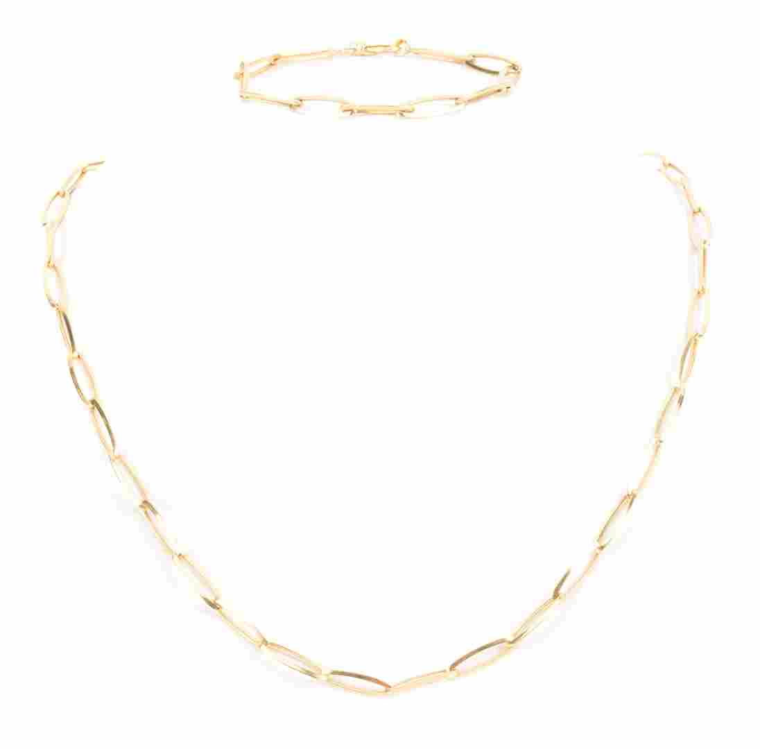 A Gold Open Link Necklace and Bracelet