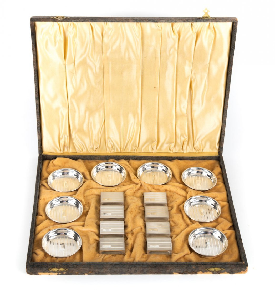 Guilloche sterling ashtrays & match covers set