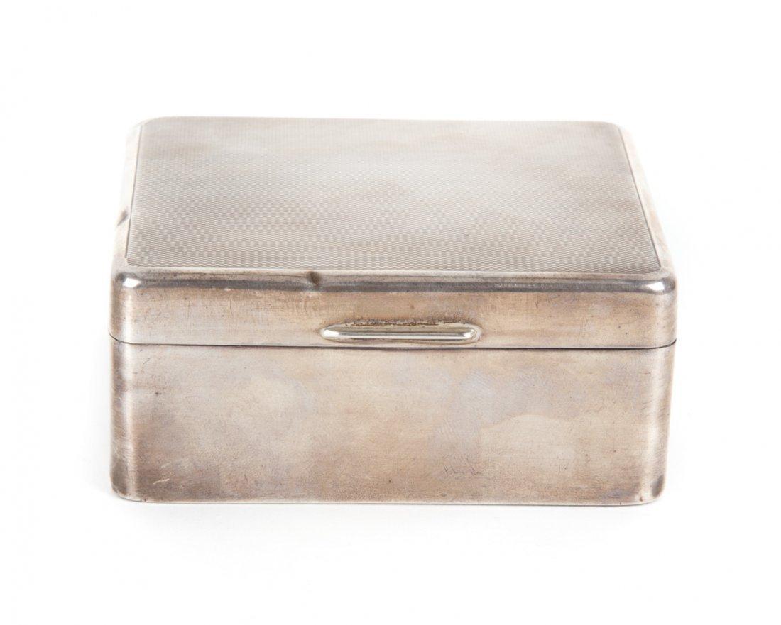 English sterling silver cigarette box