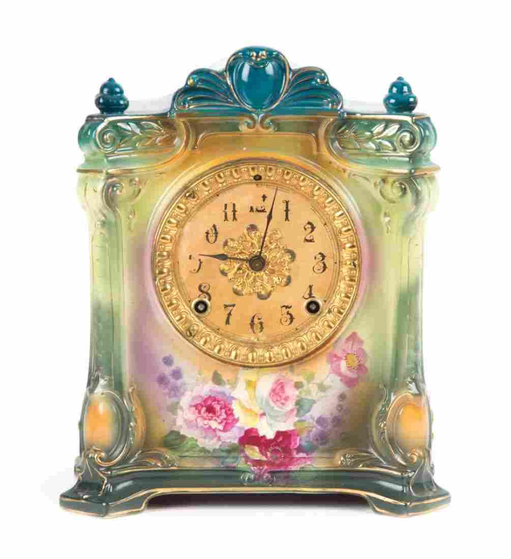 Ansonia china cased mantel clock