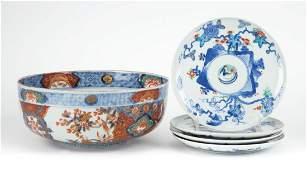 Japanese Imari porcelain bowl and four plates