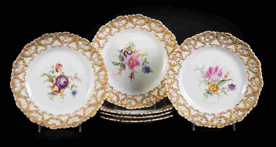 Six Meissen porcelain luncheon plates