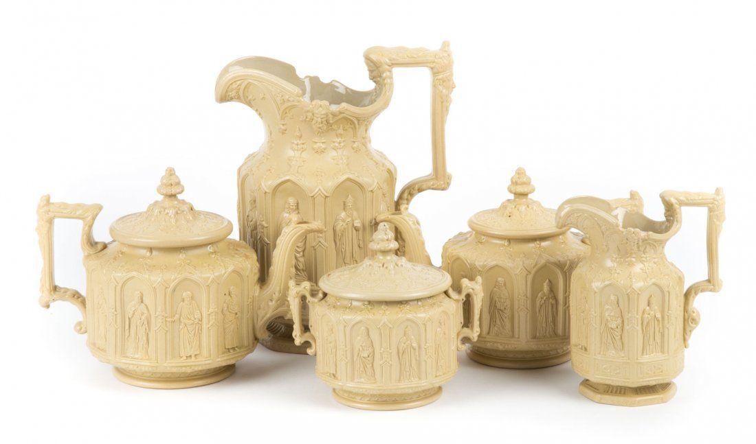 Five salt glazed stoneware Apostle ware articles